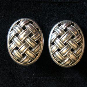 Ben-Amun Silver Tone Clip Earrings  Vintage